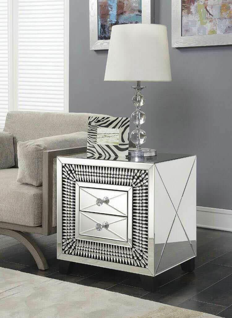Crystal 2 Drawer Lamp Table