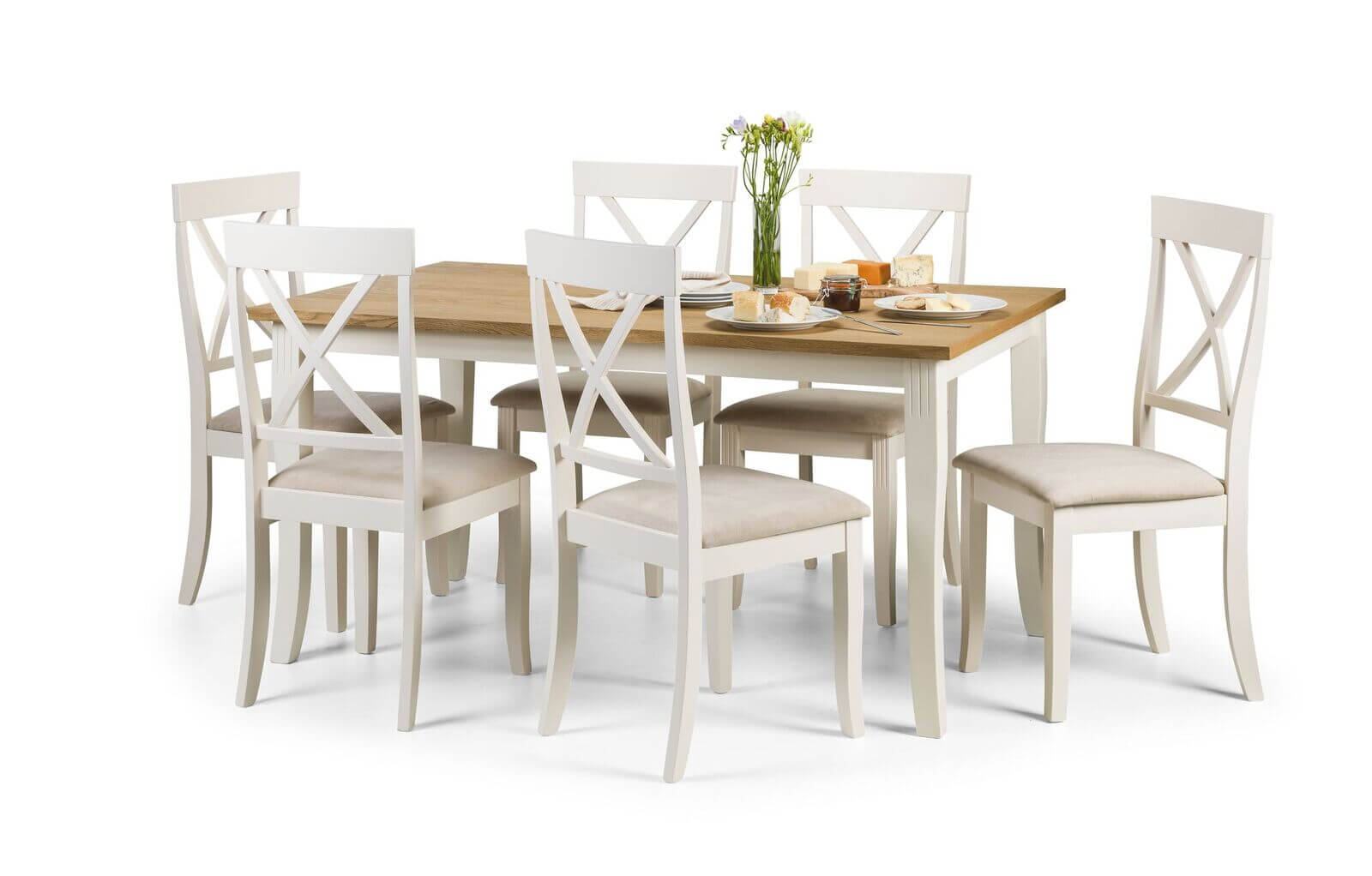 Davenport Dining Set White and Oak