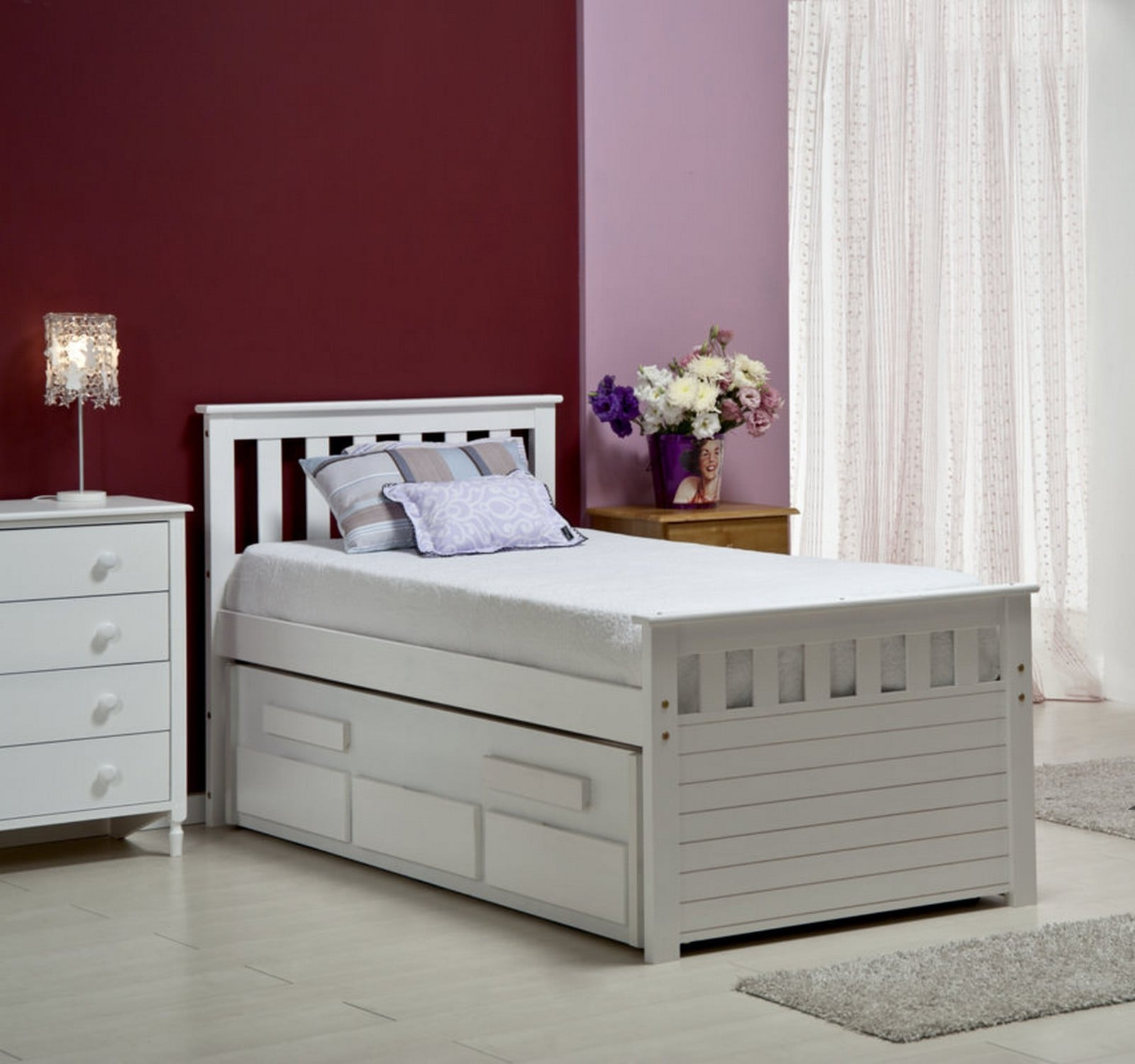 Bergamo Captains Guest Bed - White