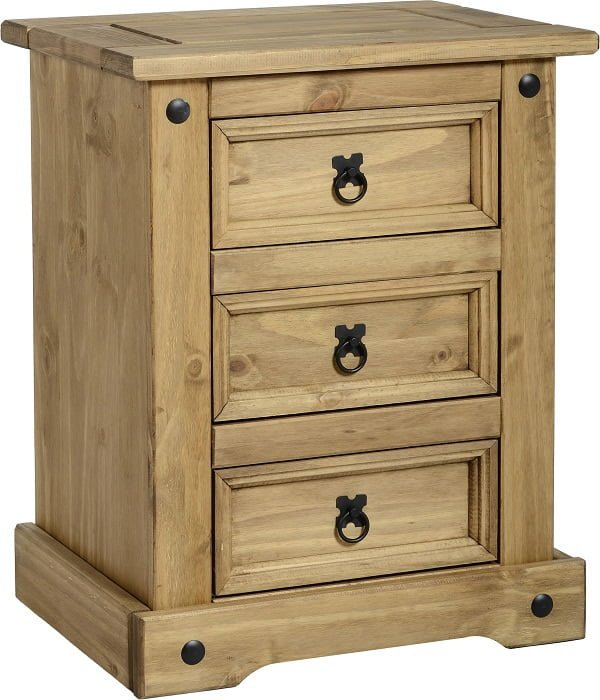 CORONA 3 DRAWER BEDSIDE CHEST