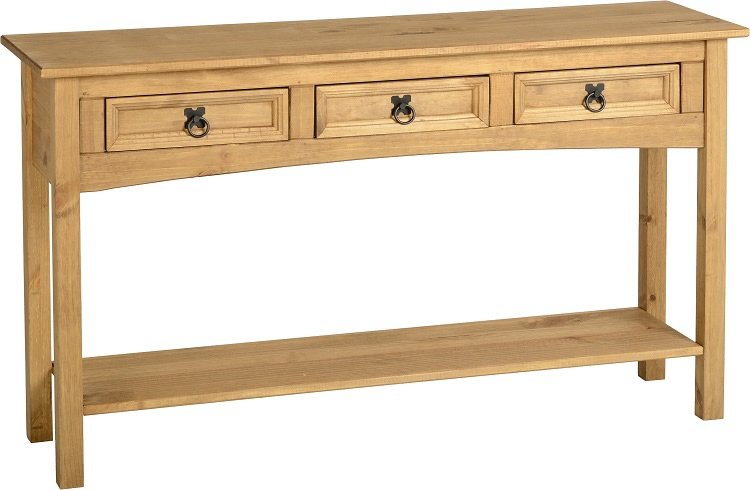 CORONA 3 DRAWER CONSOLE TABLE WITH SHELF