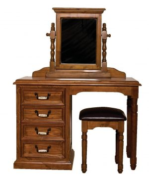 Country Kneehole Dressing Table with Mirror and Stool