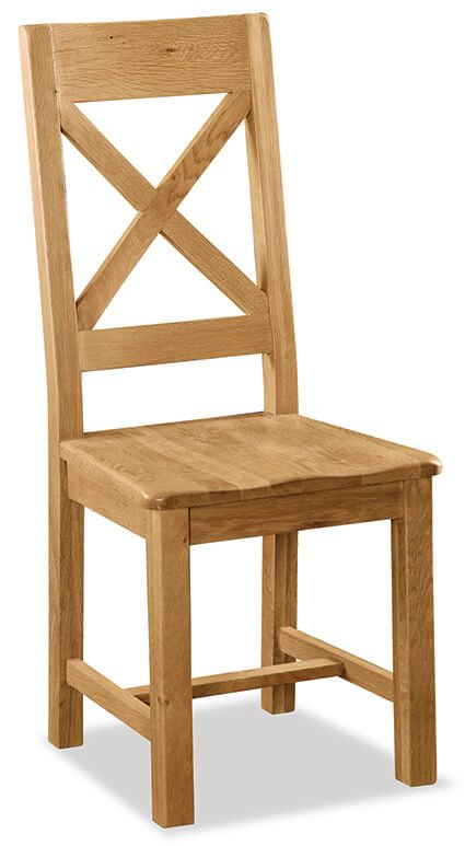 Salisbury Cross Back Chair with Wooden Seat