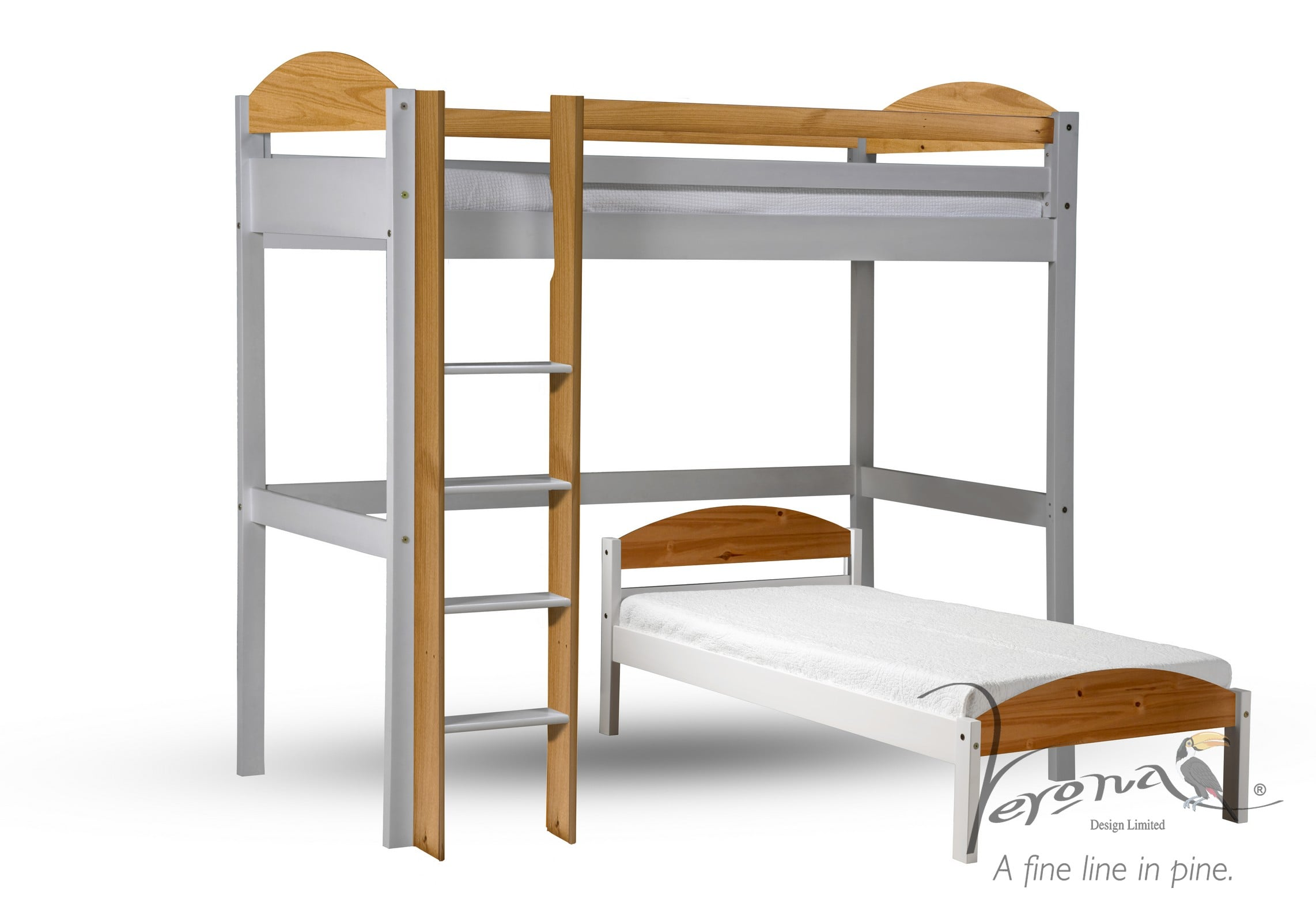 Maximus L Shaped High Sleeper - White Frame only