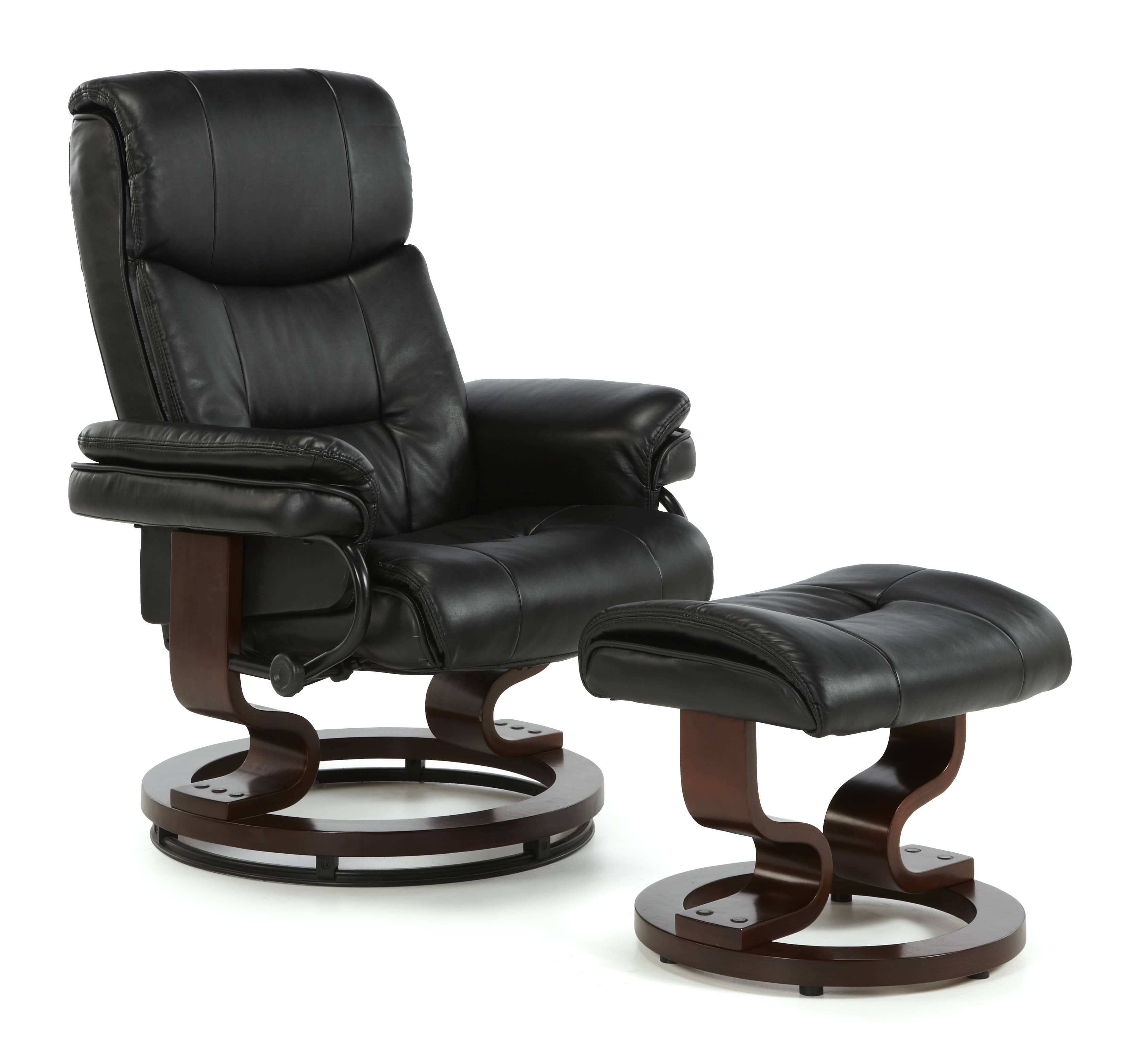 Moss Swivel Chair Black PU Mahogany A min