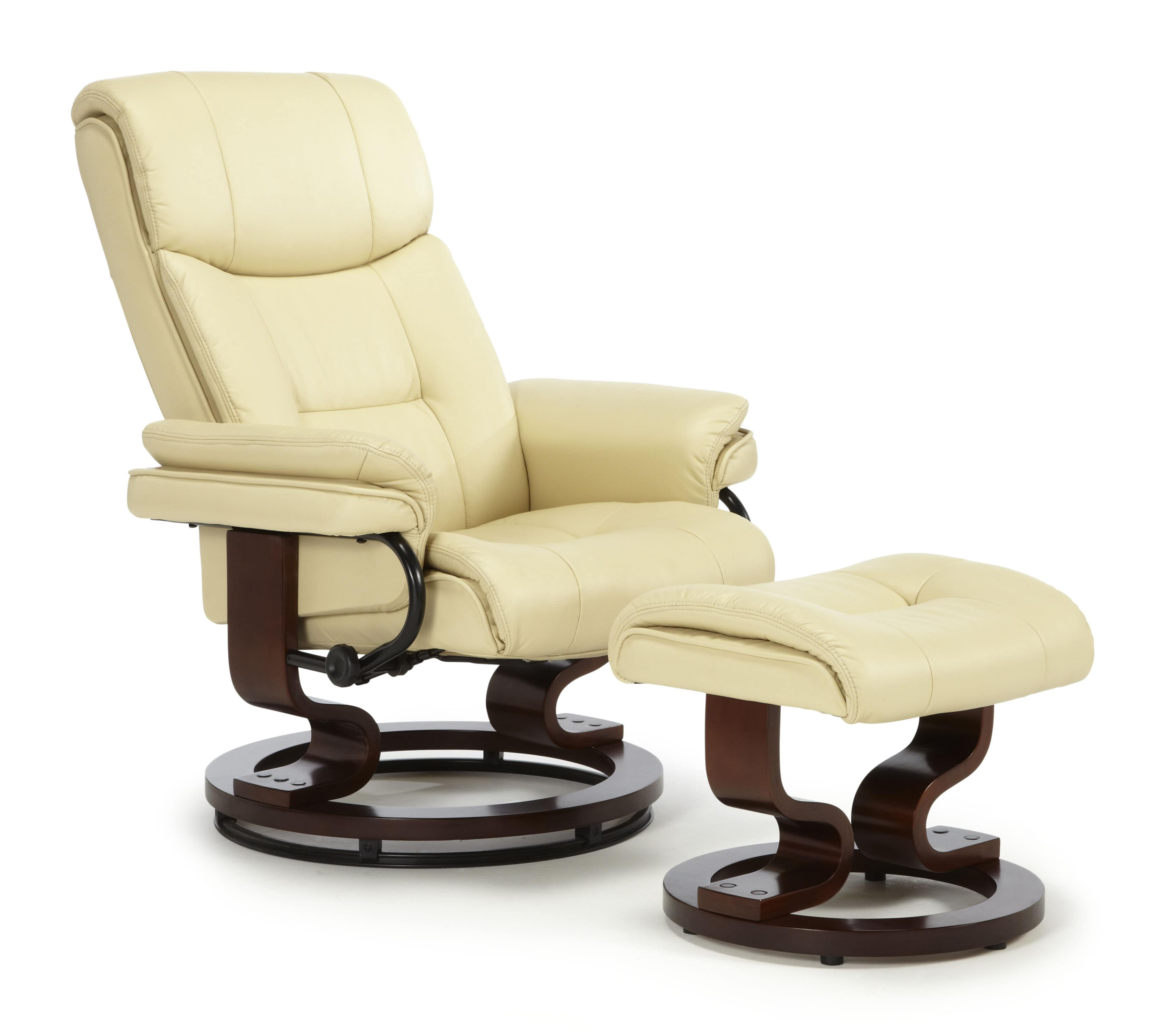 Moss Swivel Chair Cream PU Mahogany A min