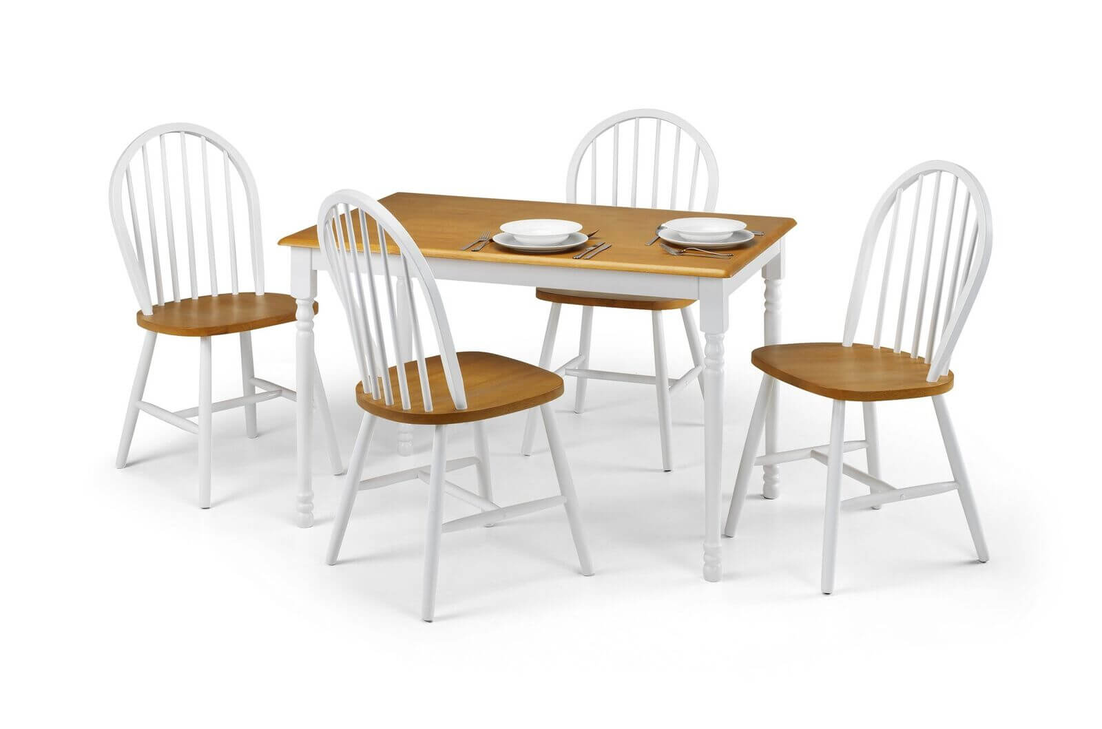 White Oslo Dining Set (Table + 4)