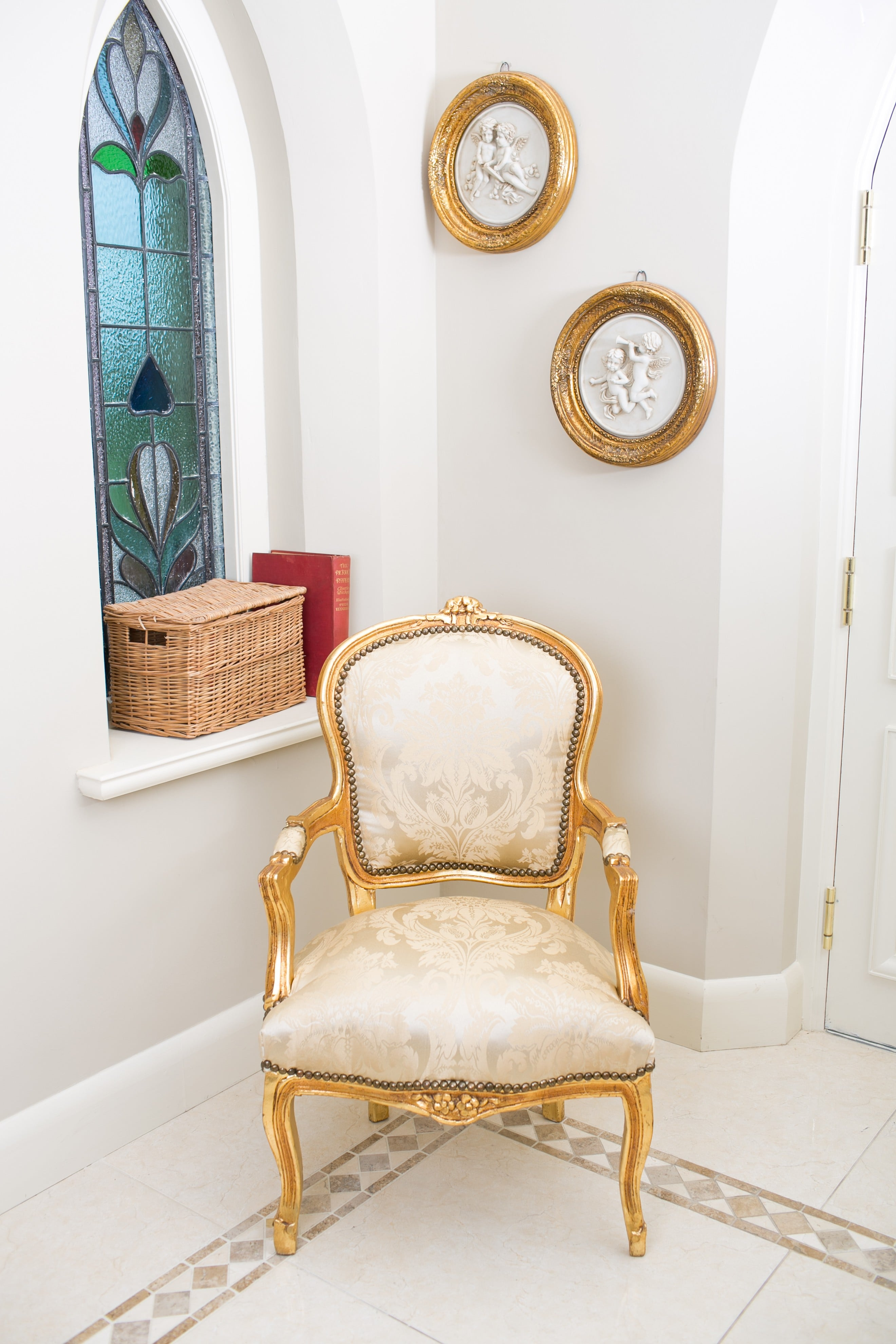 French Armchair Gold and Damask