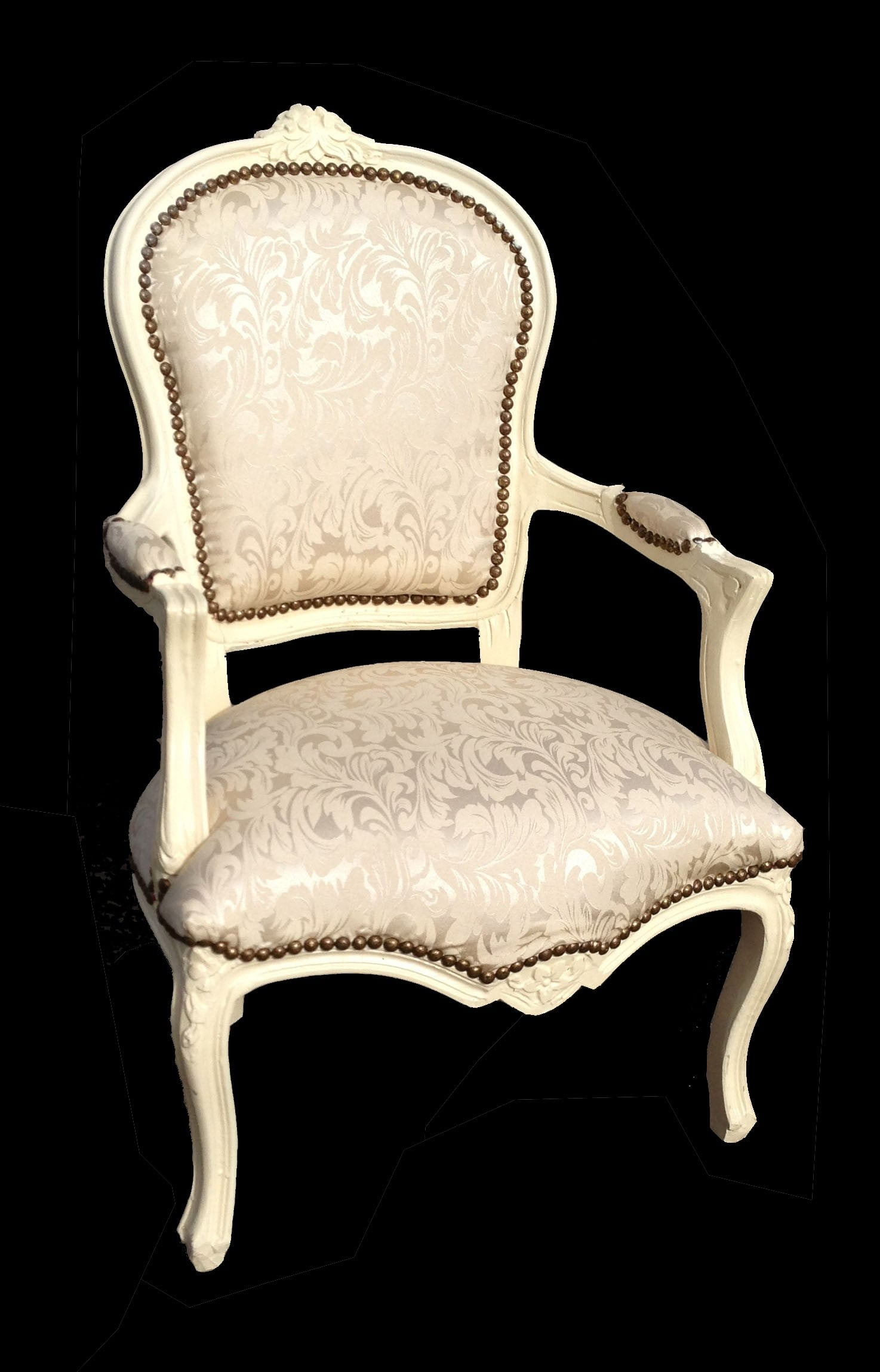 French Armchair Ivory and White Damask