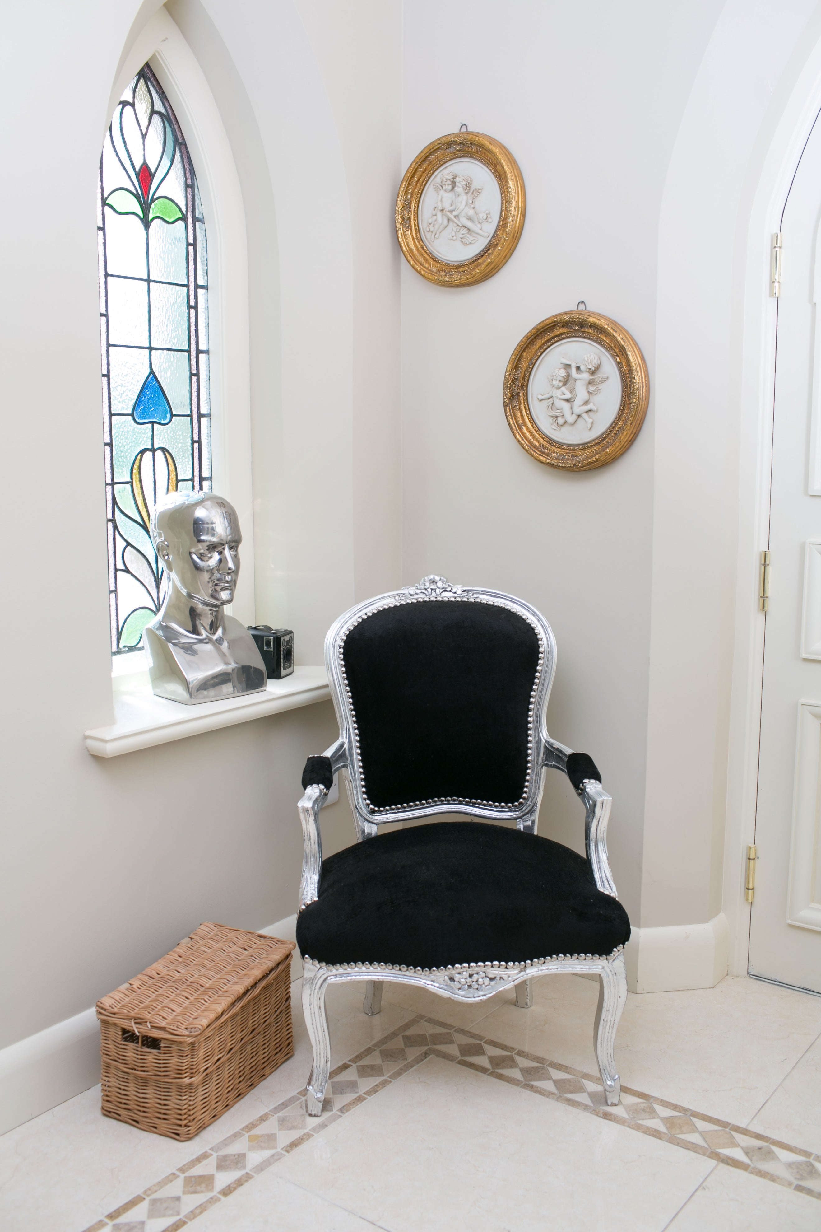 French Armchair Silver with Black