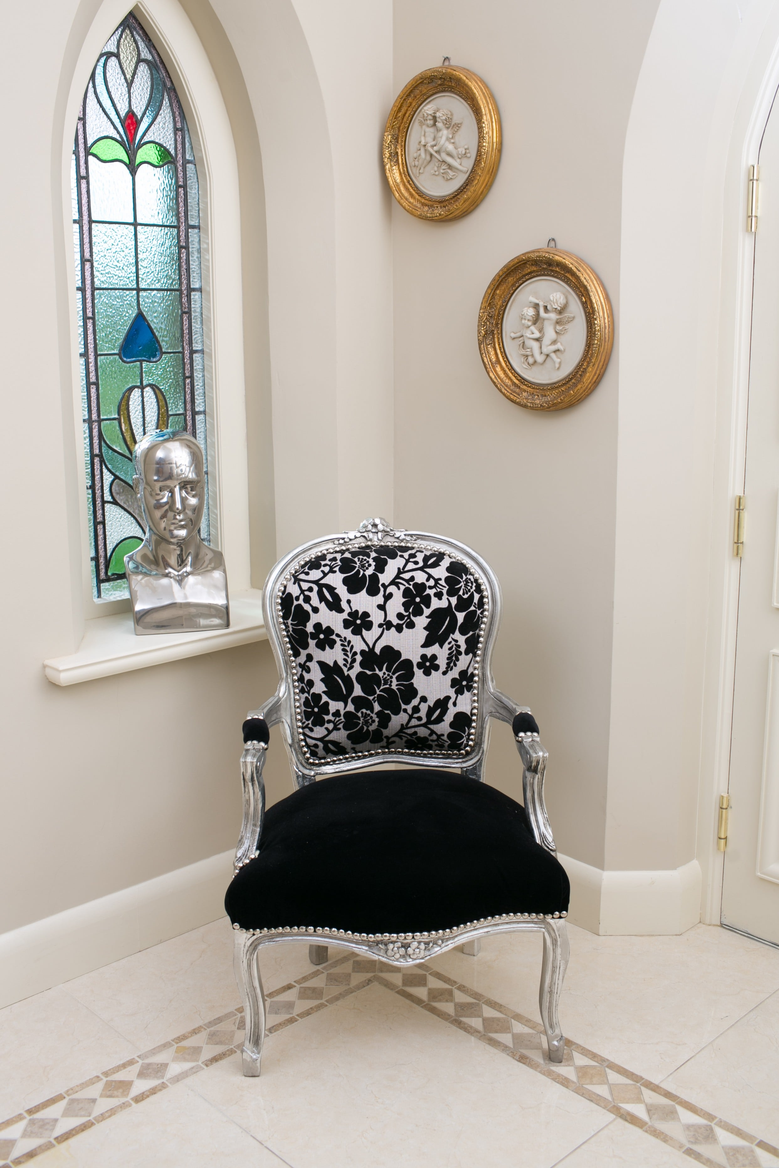 French Armchair Silver with Black Damask