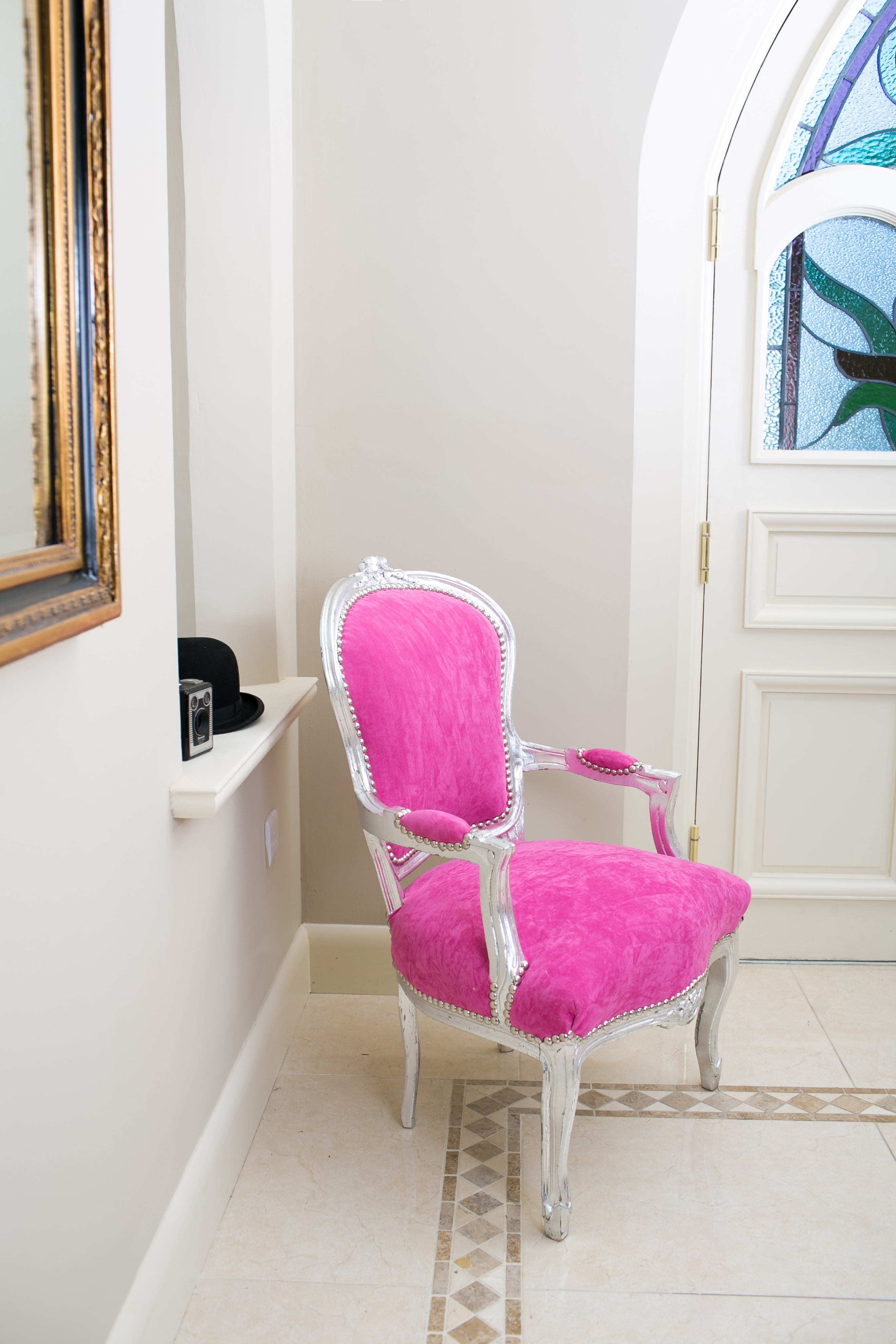 French Armchair Silver with Pink