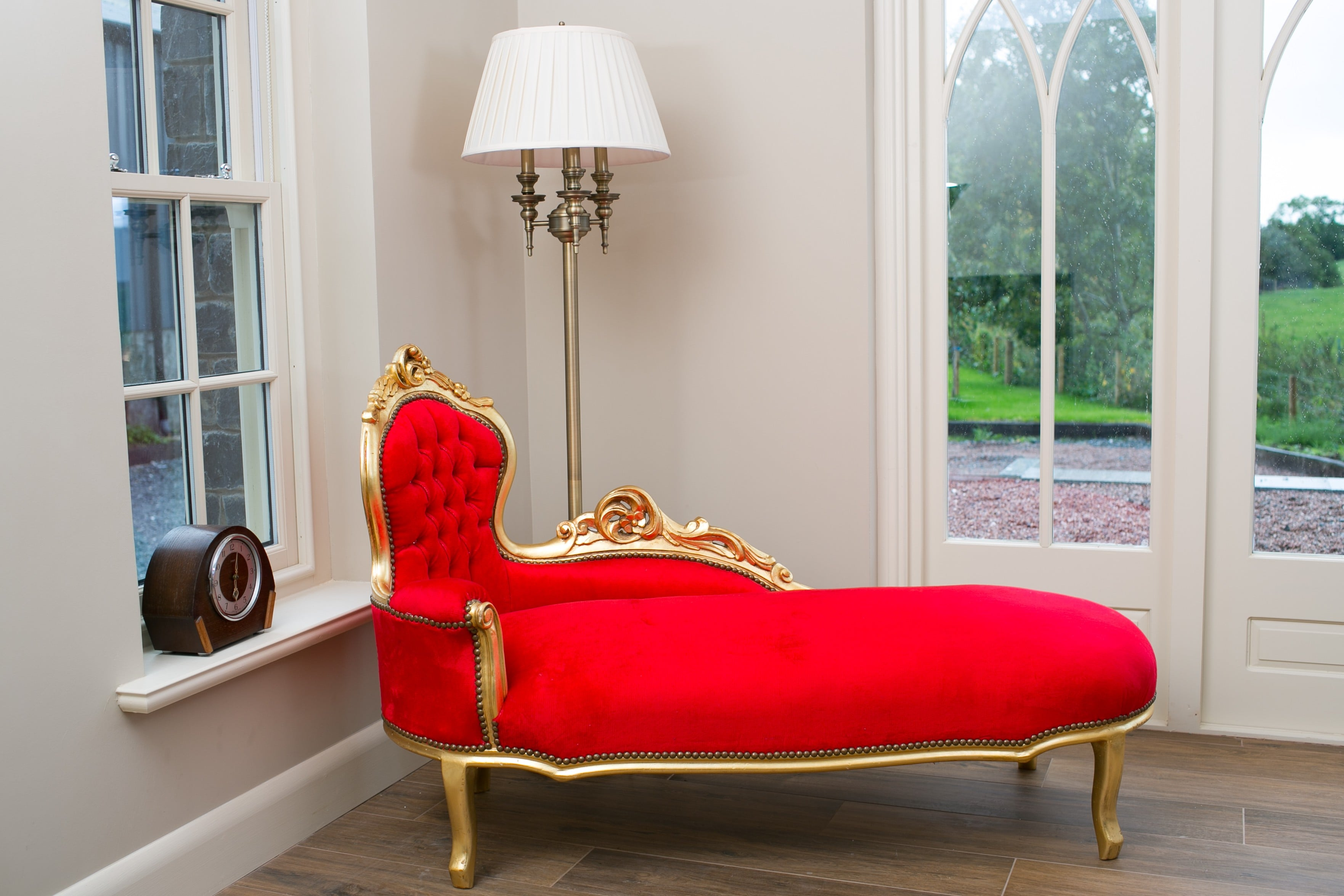 French Chaise Gold and Red