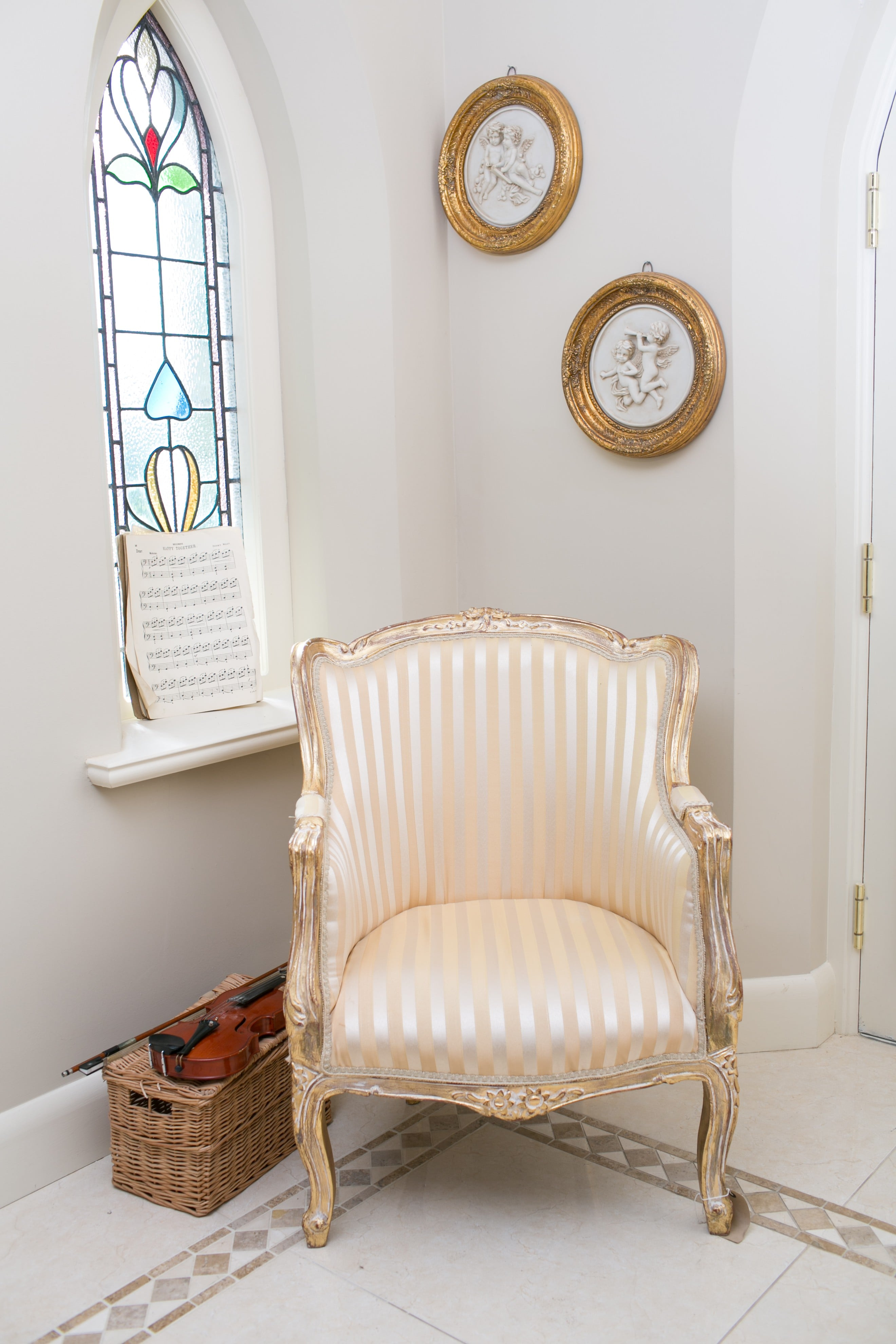 French Tub Chair Gold with Gold Stripe
