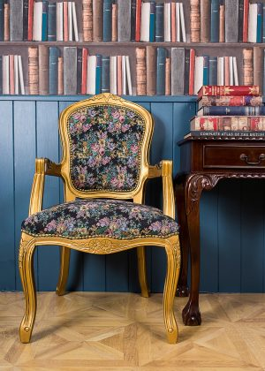 French Armchair Gold and Floral