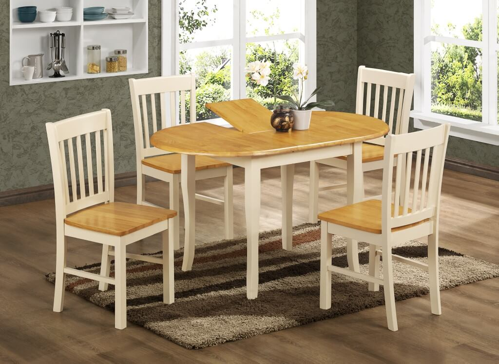 Thames Extending Dining Set Cream, Cream Coloured Dining Room Chairs