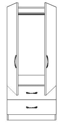 Blackwater 2 Door Wardrobe with Drawers