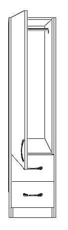 Nore 1 Door Wardrobe Left with Mirror and 2 Drawers