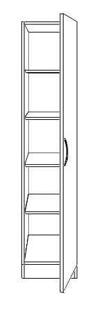 Nore 1 Door Wardrobe Right with Shelves and Mirror