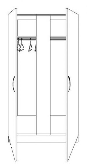 Nore 2 Door Wide Wardrobe with Mirror