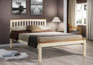 "Sandra 4'6"" Bed - Cream/Beech"