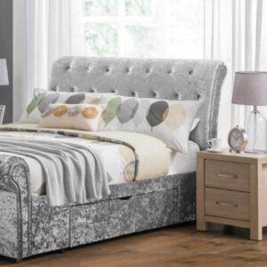Verona 4'6'' Storage Bed - Silver