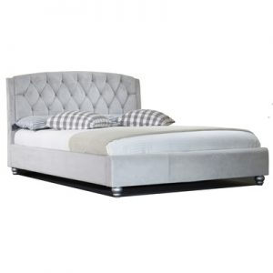 Monza 4'6 Velvet Bed - Silver