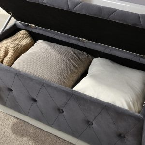 Grey & Button Blanket Box