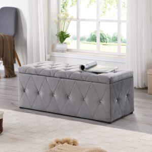Grey & Diamond Blanket Box