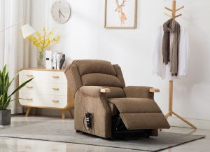 Padstow Lift & Tilt Chair - Brown Herringbone