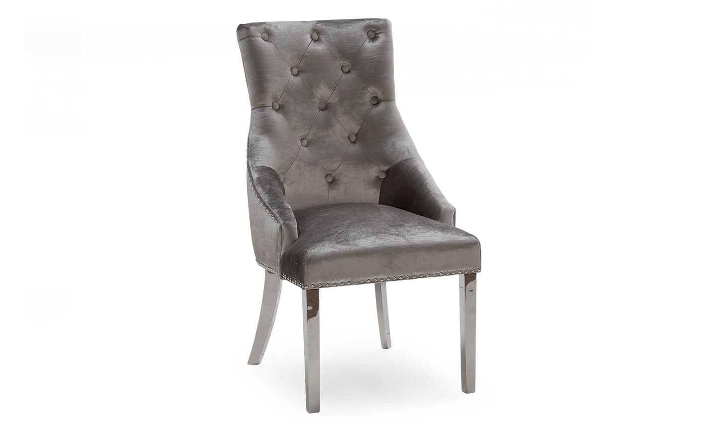 Belvedere Dining Chair Pewter Velvet