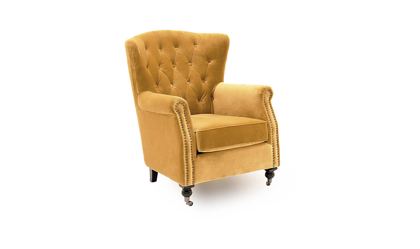 Darby Wingback Chair Mustard