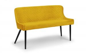 Luxe Mustard High Back Dining Bench