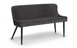 Luxe Grey High Back Dining Bench