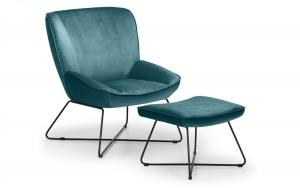 Mila Teal Accent Chair & Stool
