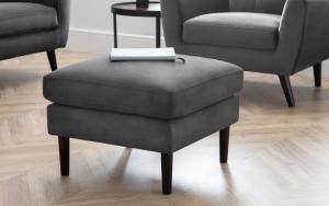 Monza Dark Grey Velvet Ottoman